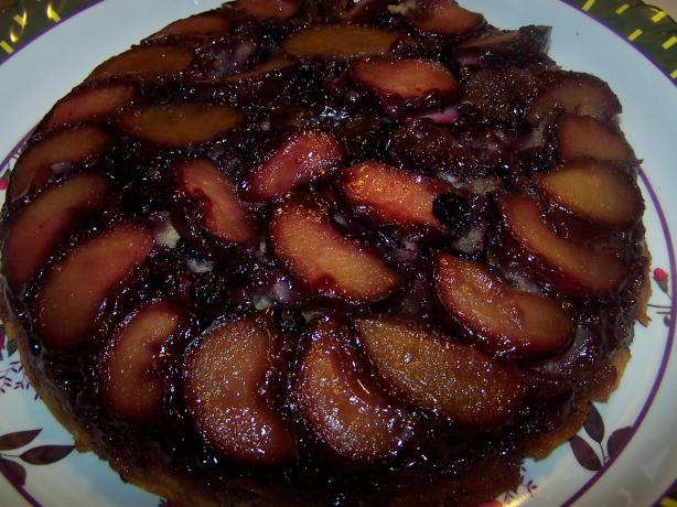 Fresh Plum & Blueberry Upside-Down Cake. Photo by barefootmommawv