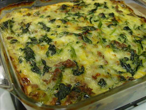 "Vegetarian Spinach, Cheese and "" Sausage"" Casserole. Photo by Picholine"