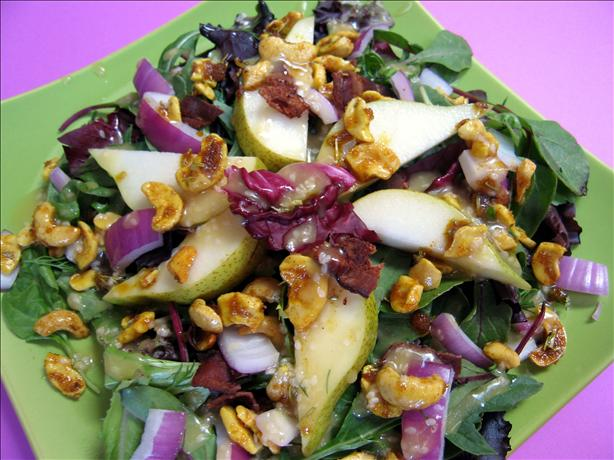 Spinach Pear Salad from Restaurateur, Tom Douglas. Photo by Geema