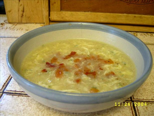 Breakfast Soup Aka Bacon and Egg Soup. Photo by Marie Nixon