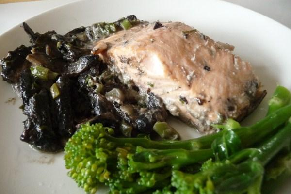Baked Salmon With Mushroom Sauce. Photo by Tea Jenny