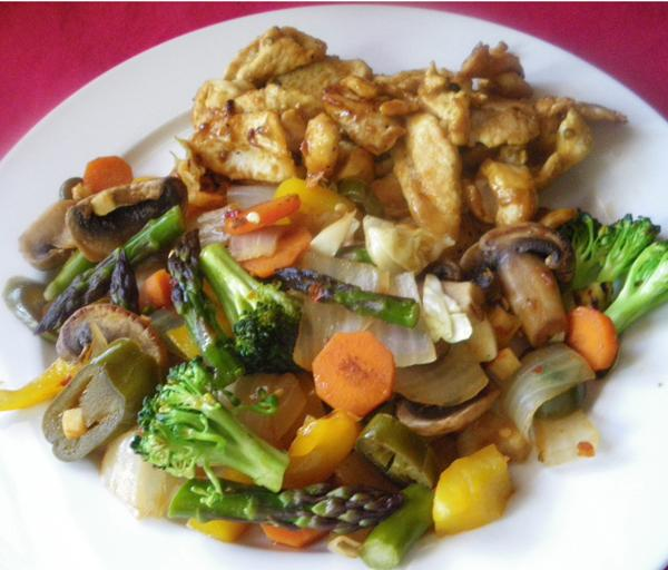 Green Veggie Stir Fry with Mushrooms. Photo by Bergy