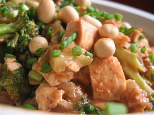 Broccoli and Tofu With Spicy Peanut Sauce. Photo by fawn512