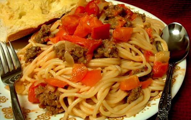 Spaghetti with Sausage and Peppers. Photo by VickyJ