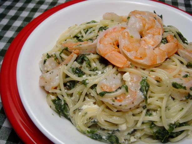 Mediterranean Fettuccine With Shrimp and Spinach. Photo by Lori Mama