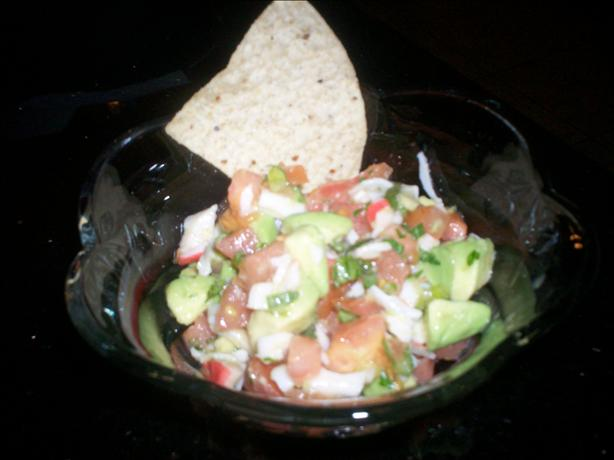 Southwestern Crab Salad Salsa Dip. Photo by chef FIFI