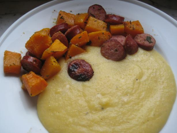 Herb-Roasted Butternut Squash and Sausages. Photo by Linnya