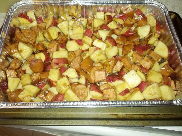 Roasted Kielbasa & Potatoes. Photo by Rainiedazze