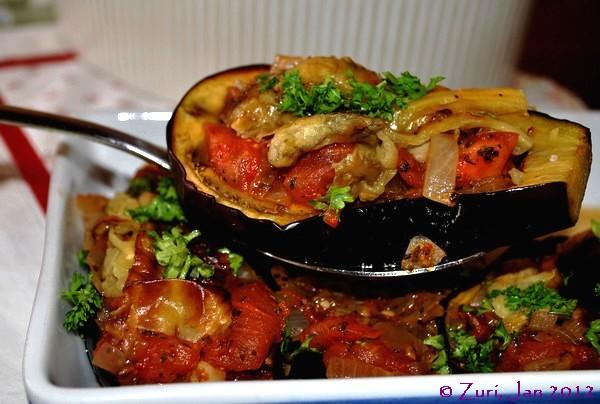 Imam Baildi Aka Stuffed Eggplant (Aubergine). Photo by Zurie