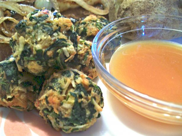 Hot Spinach Balls &amp; Spicy Mustard Sauce. Photo by Crafty Lady 13
