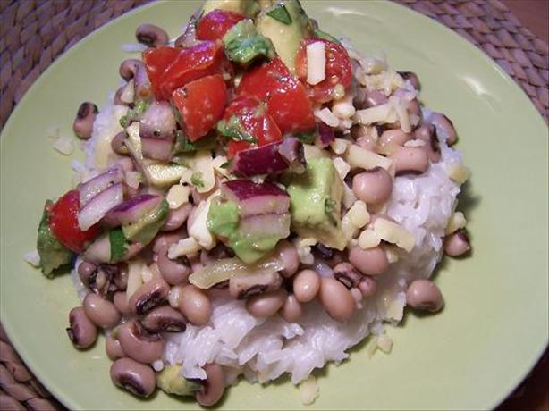 Black Eyed Peas with Coconut Rice and Avocado Salsa. Photo by Moor Driver