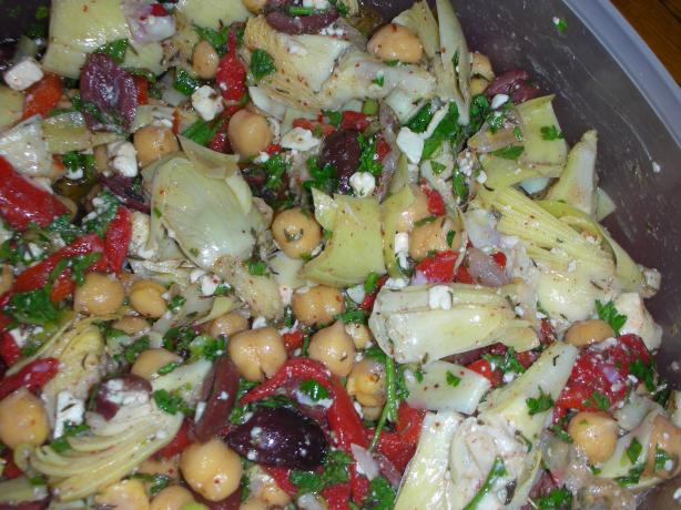 Marinated Chickpea and Artichoke Salad with Feta. Photo by JackieOhNo!
