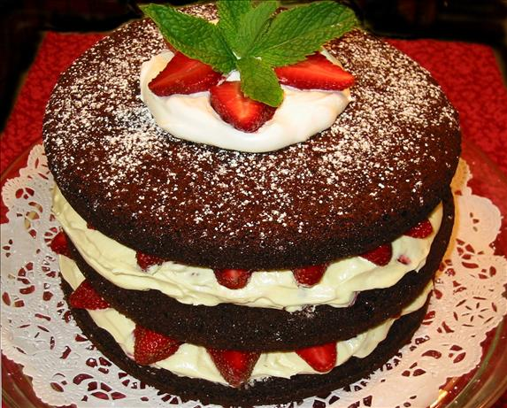 Chocolate Raspberry (Or Strawberry) Tall Cake. Photo by shimmerchk
