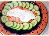 Grilled Salmon With Chive and Dill Sauce and Cucumbers