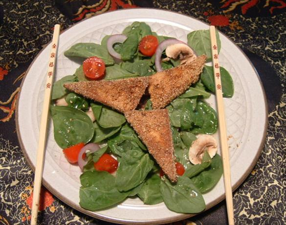 Fried Tofu and Spinach Salad. Photo by Cynna
