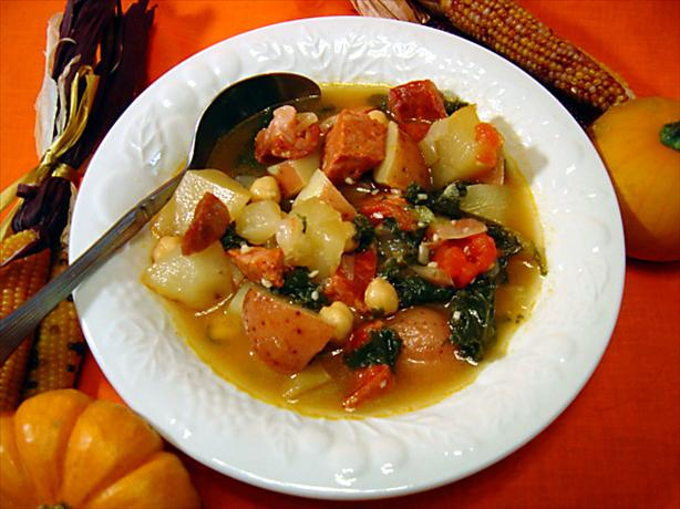 Linguica, Kale, and Potato Soup. Photo by :(