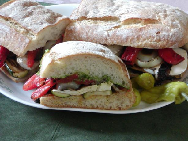 Grilled Veggies on Toasted Ciabatta Bread. Photo by Rita~