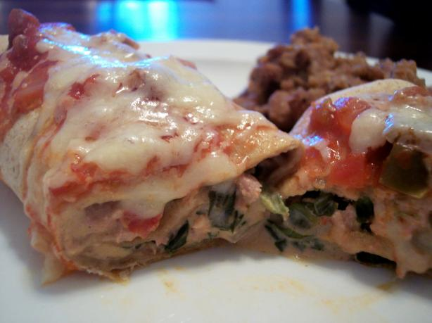 Oven-Baked Turkey-Spinach Enchiladas Extraordinaire. Photo by jrusk