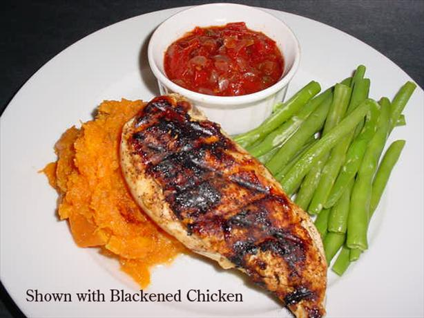 Cajun Cutlets With Sweet Potato Mash and Tomato Chilli Jam. Photo by justcallmetoni