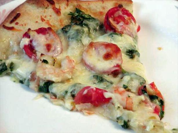 Simply Delicious Shrimp and Spinach Pizza. Photo by Rita~