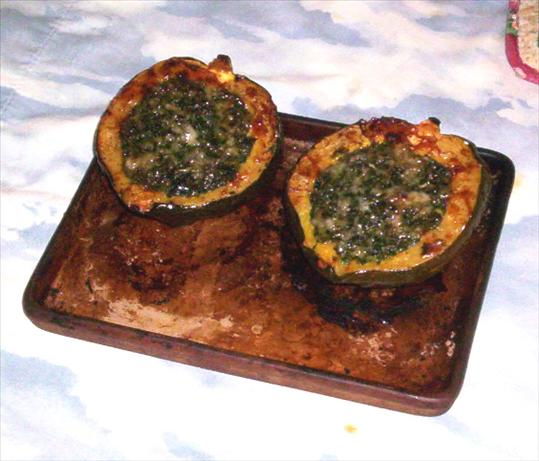 Roasted Acorn Squash With Spinach and Gruyere. Photo by Chipfo